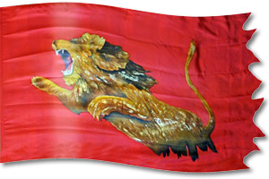 "The design ""Lion of Judah Striking"" in hand crafted silk"