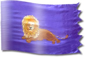 "The design ""The Lion of Judah Resting"" in hand crafted silk"