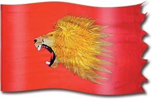 "The design ""The Lion of Judah Roaring"" in hand crafted silk"