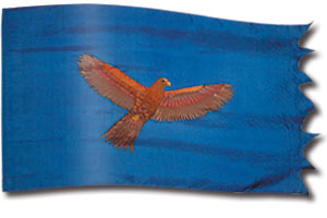 "The design ""Soaring Eagle - Dark"" in hand crafted silk"